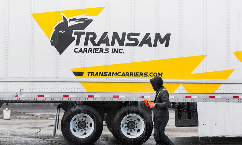 Transam Carriers' new logo on a trailer